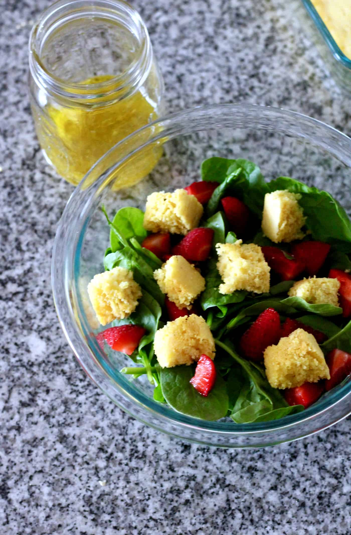 Simple Strawberry Spinach Salad with Cornbread Croutons
