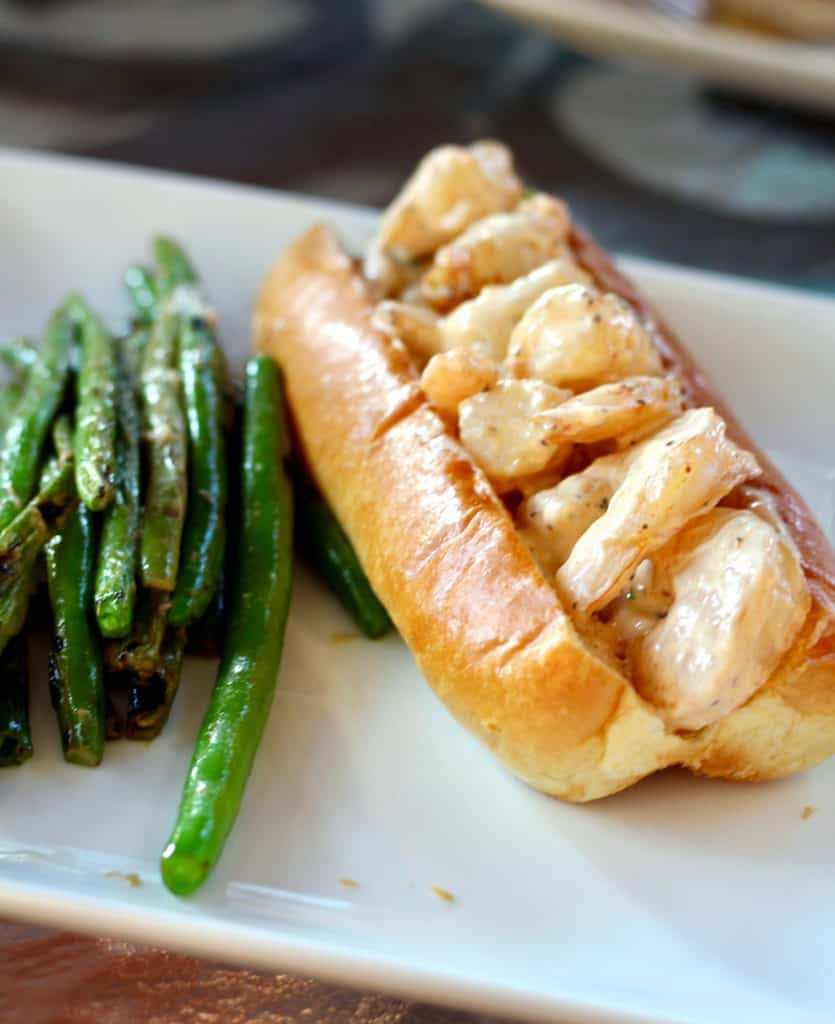 Healthy New England-Style Shrimp Roll Recipe with zesty green beans