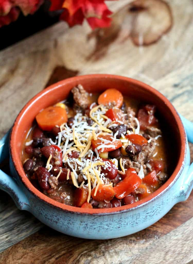 Simple bison chili with shredded cheese