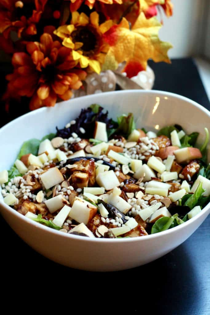 Healthy harvest salad in a large bowl