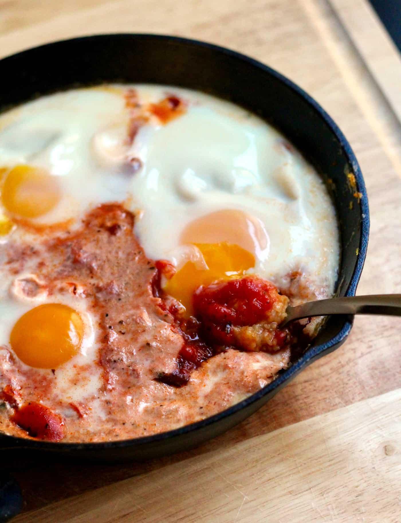 Skillet-Baked Polenta and Eggs