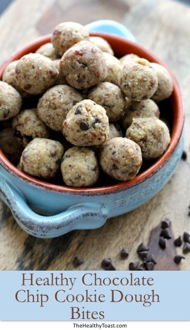 Bowl of healthy chocolate chip cookie date bites pinterest image