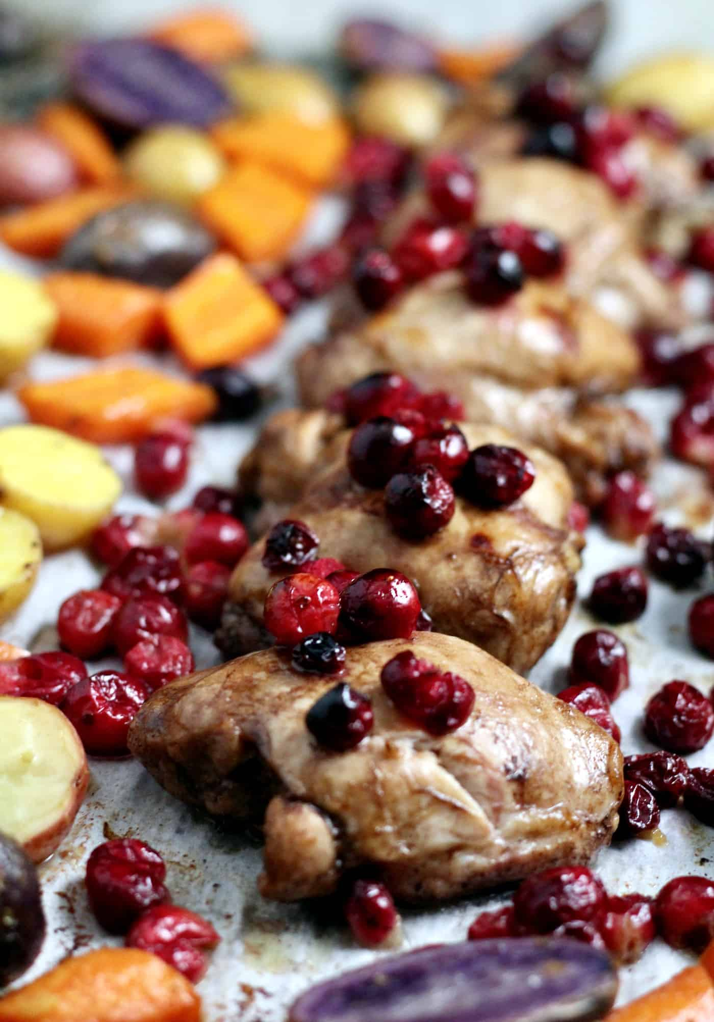 Sheet Pan Cranberry Chicken with Roasted Vegetables