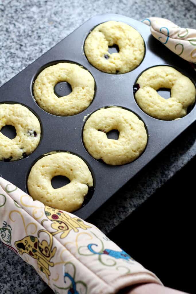 Pan of baked donuts