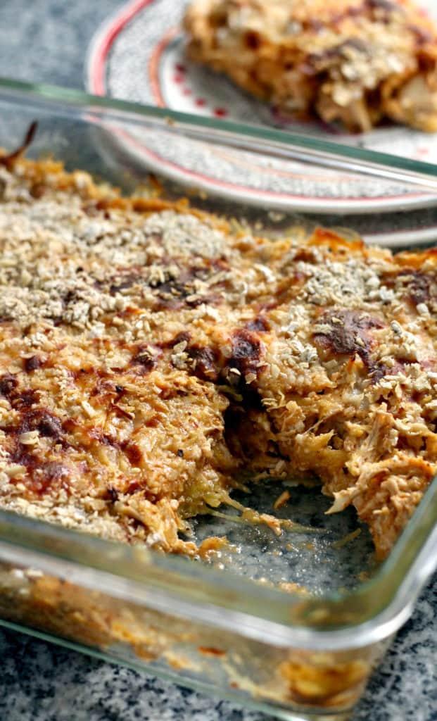 Pan of BBQ spaghetti squash casserole