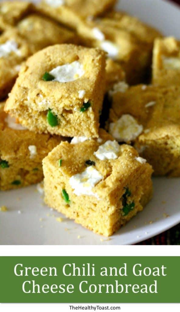 Green chili and goat cheese cornbread pinterest image