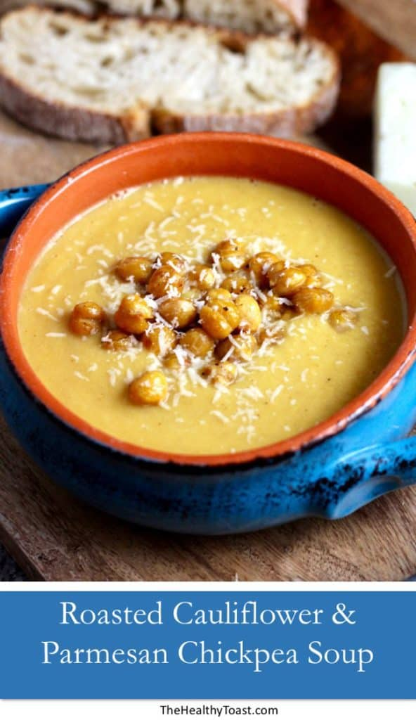 Roasted Cauliflower and Parmesan Chickpea Soup Pinterest image
