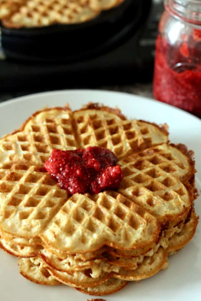 Whole wheat norwegian waffle recipe with strawberry chia seed jam.