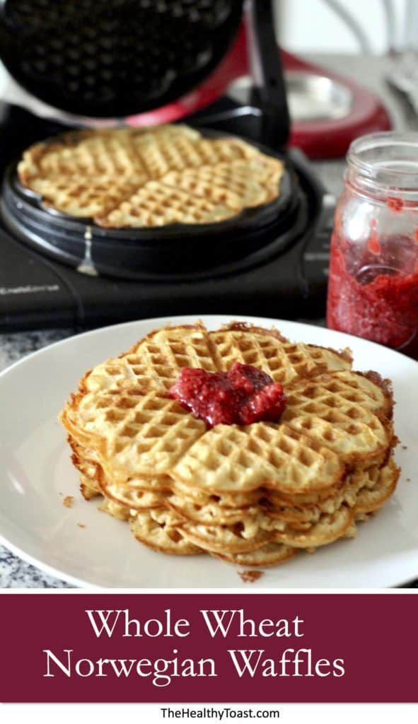 Whole Wheat Norwegian Waffles Pinterest image