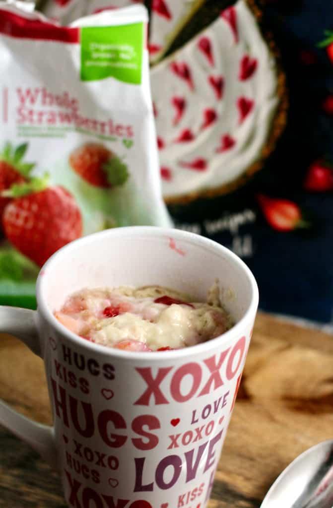 Healthier Single-Serving Strawberry Shortcake (a mug cake recipe)