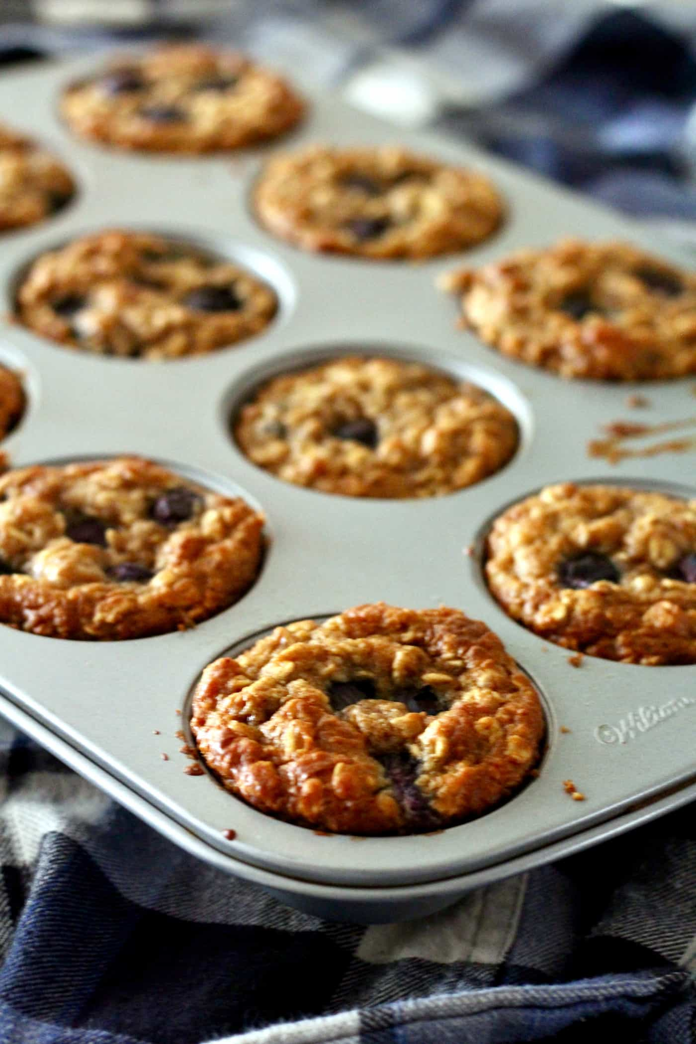 Almond Butter Oat Muffins with Blueberries