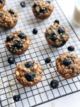 Almond Blueberry oatmeal muffins on cooling rack