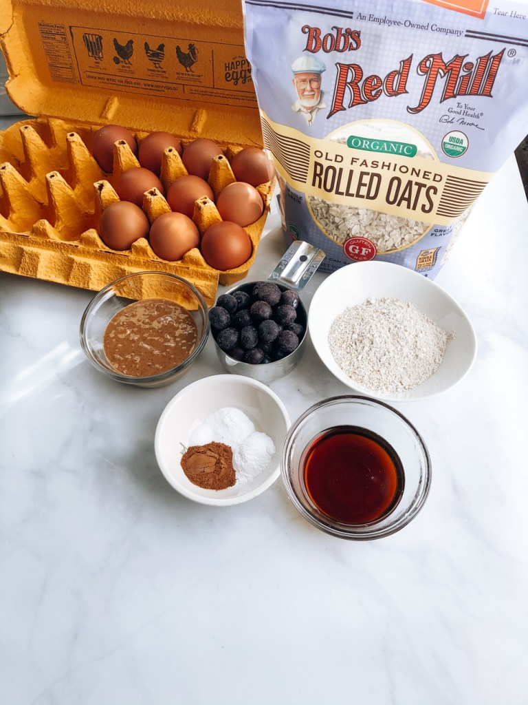 Ingredients for almond blueberry oatmeal muffins