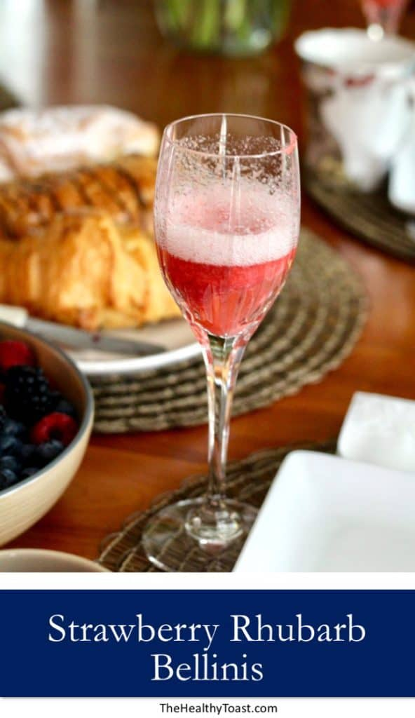 Strawberry Rhubarb Bellini Pinterest image
