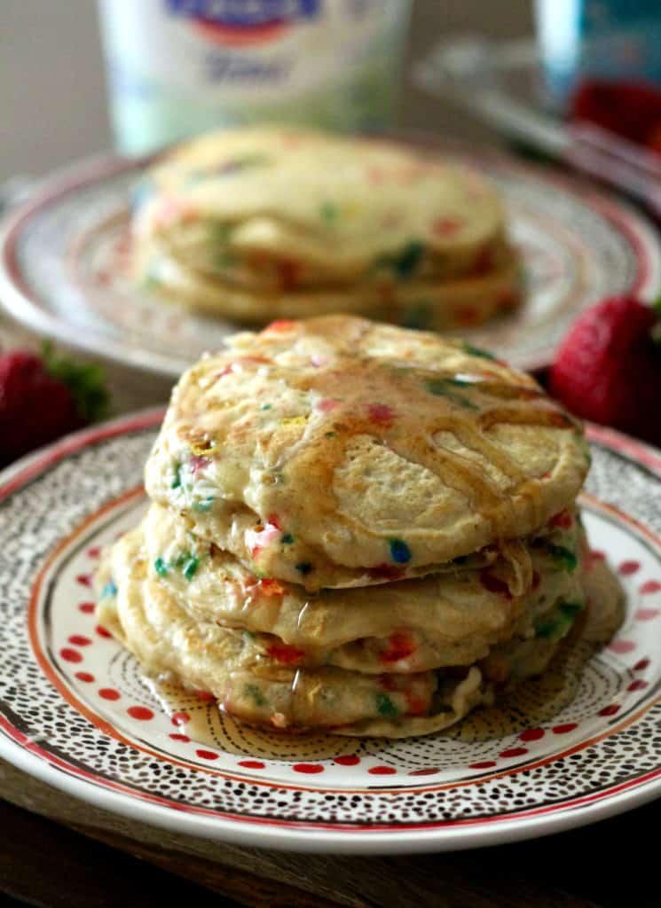 Fluffy Greek Yogurt Birthday Pancakes with maple syrup