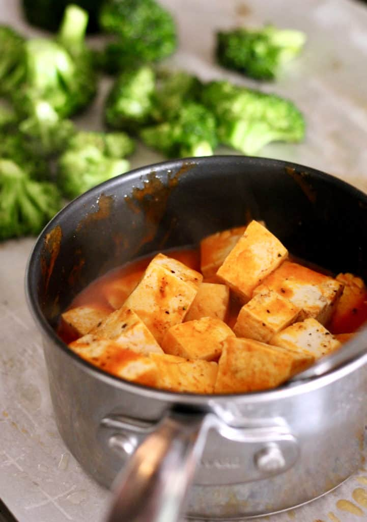 Tofu in pot with buffalo sauce