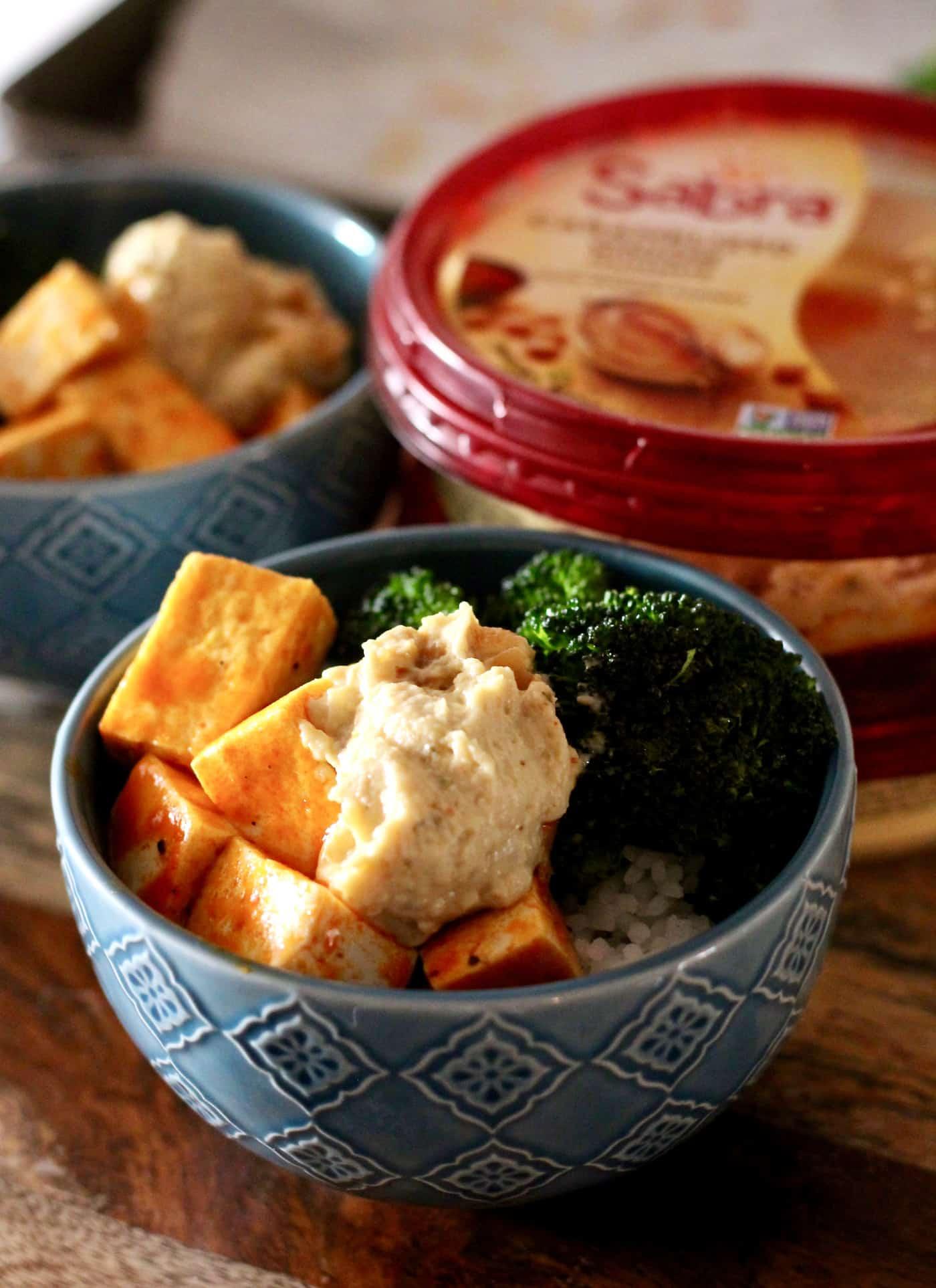 Buffalo Tofu Bowls with Caramelized Onion Hummus