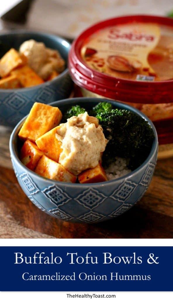 Buffalo Tofu Bowls with Caramelized Onion Hummus pinterest image