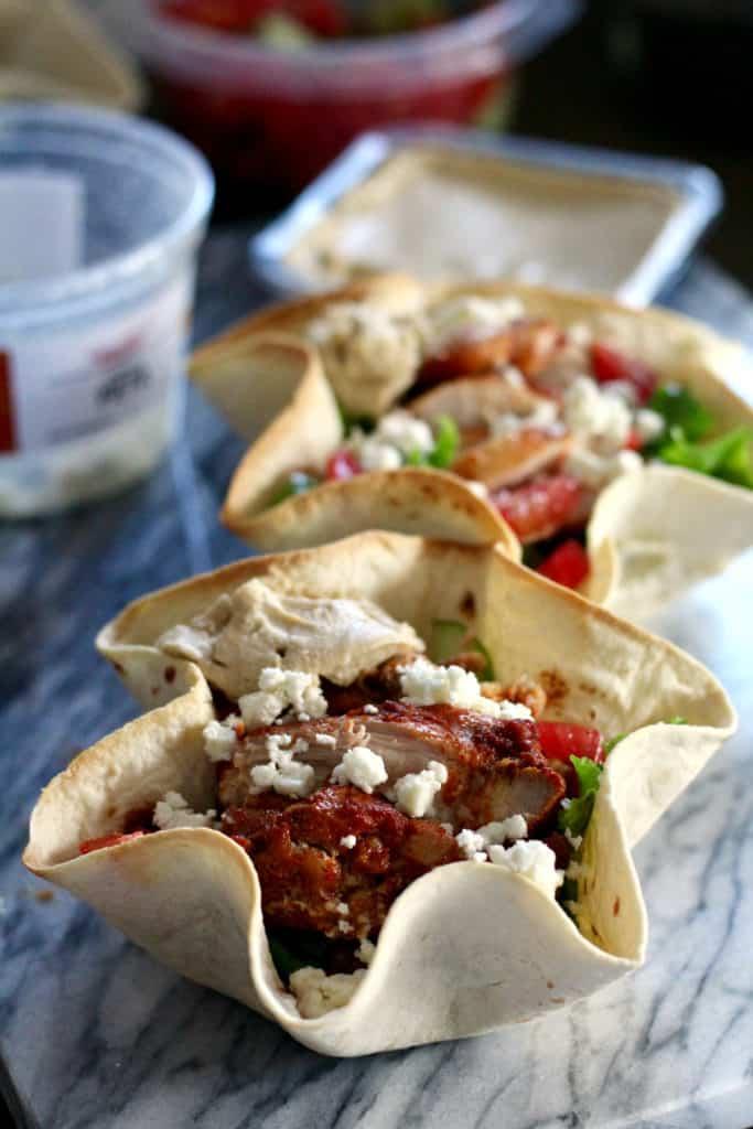 Chicken shawarma tortilla bowls