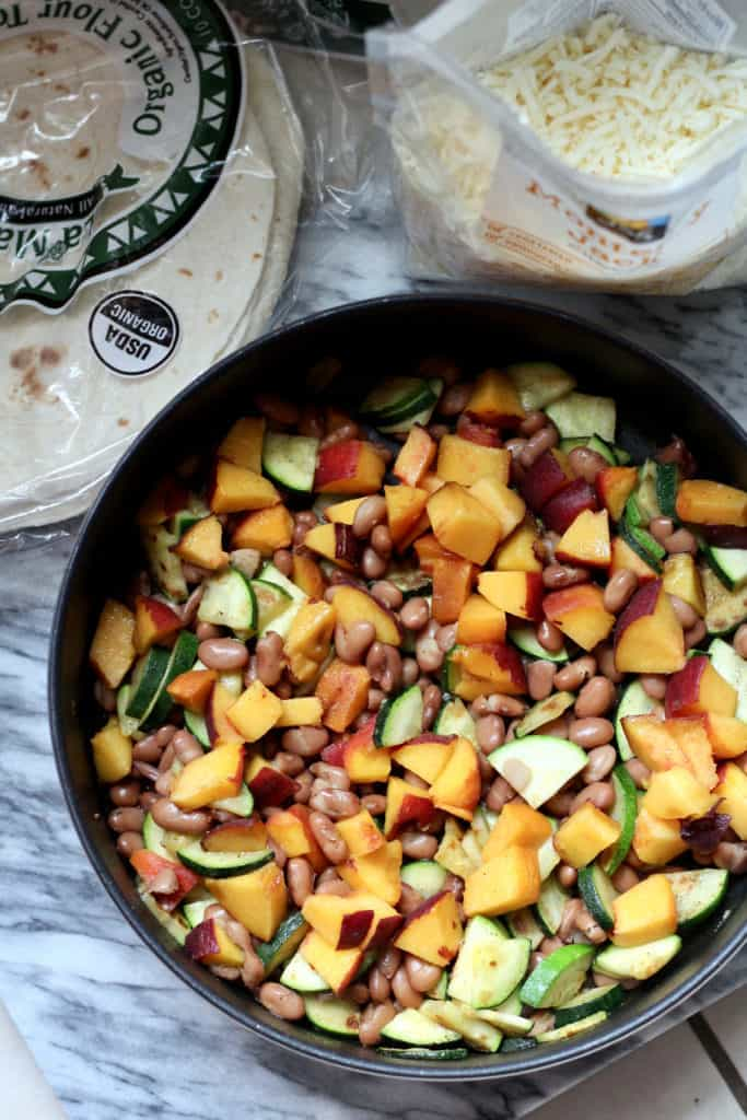 Veggie, peach, and bean quesadilla filling