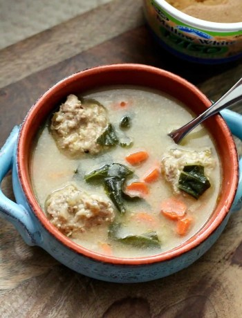 Bowl of slow cooker ginger miso soup with turkey meatballs