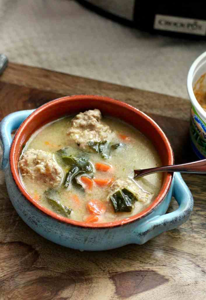 Slow Cooker Ginger Miso Soup with Turkey Meatballs