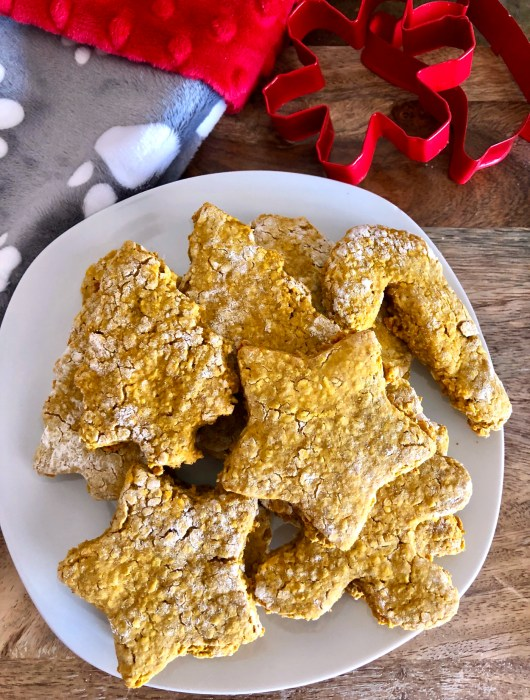 Plate of homemade dog biscuits