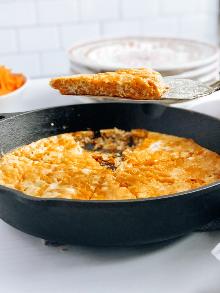 Healthy cast iron sweet potato frittata