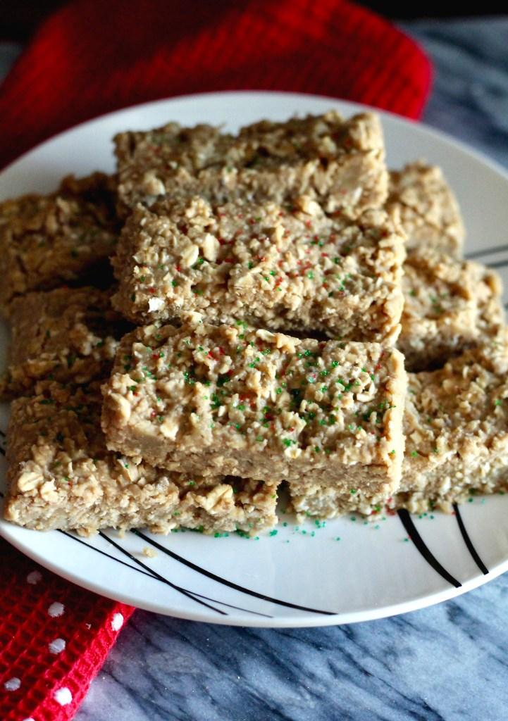 Plate of 6-ingredient sugar cookie protein bars