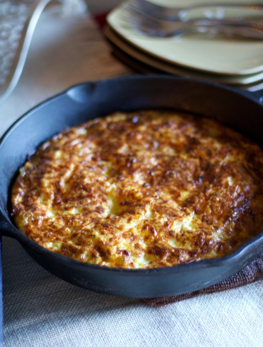 Sweet potato frittata in cast iron pan
