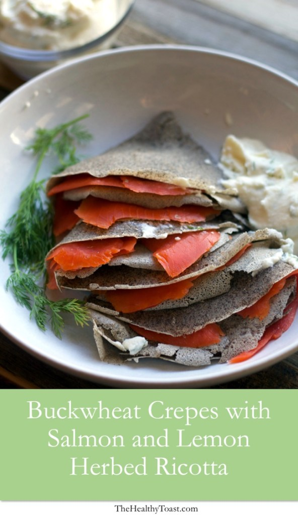 Buckwheat crepes with smoked salmon and lemon herbed ricotta pinterest image
