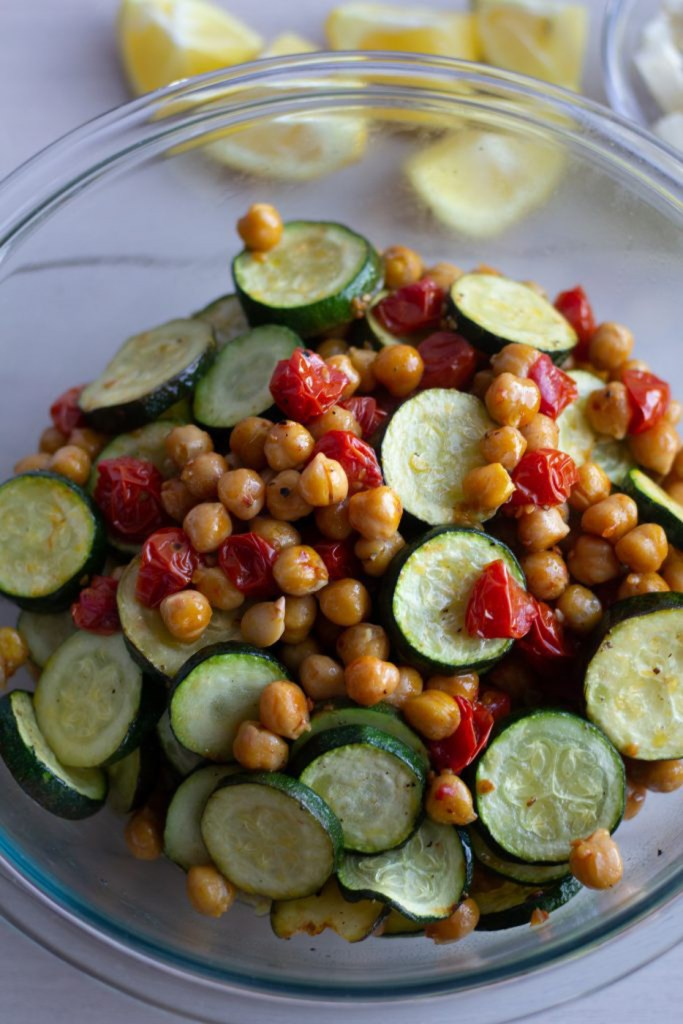 Bowl of roasted chickpeas and vegetables