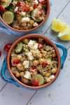 Mediterranean Freekeh Salad with Roasted Chickpeas and Feta