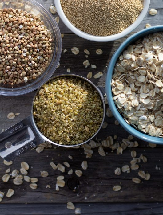 Rolled oats, freekeh, buckwheat and amaranth