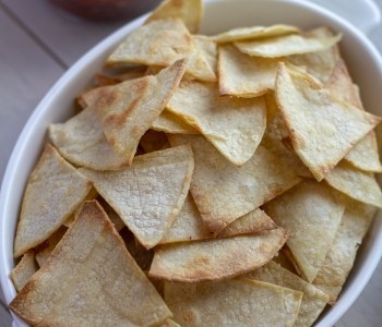 Bowl of baked tortilla chips