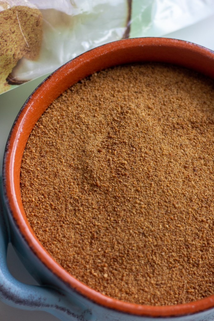 Close up of coconut sugar in bowl