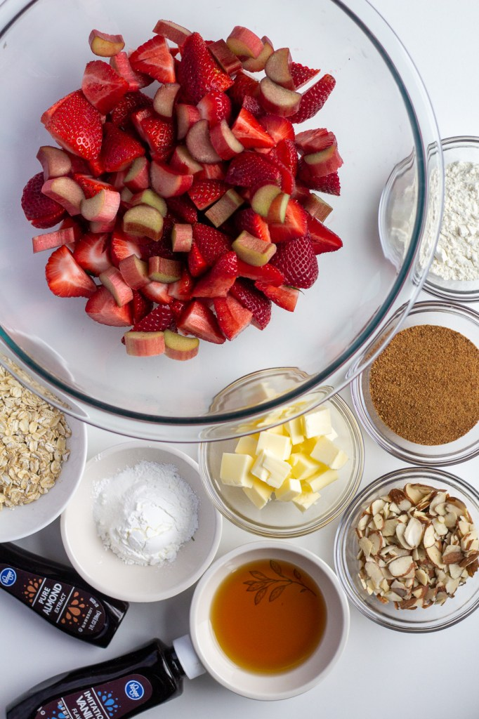 Ingredients for healthier strawberry rhubarb crisp