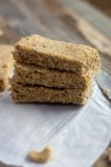 Stack of vegan peanut butter protein bars
