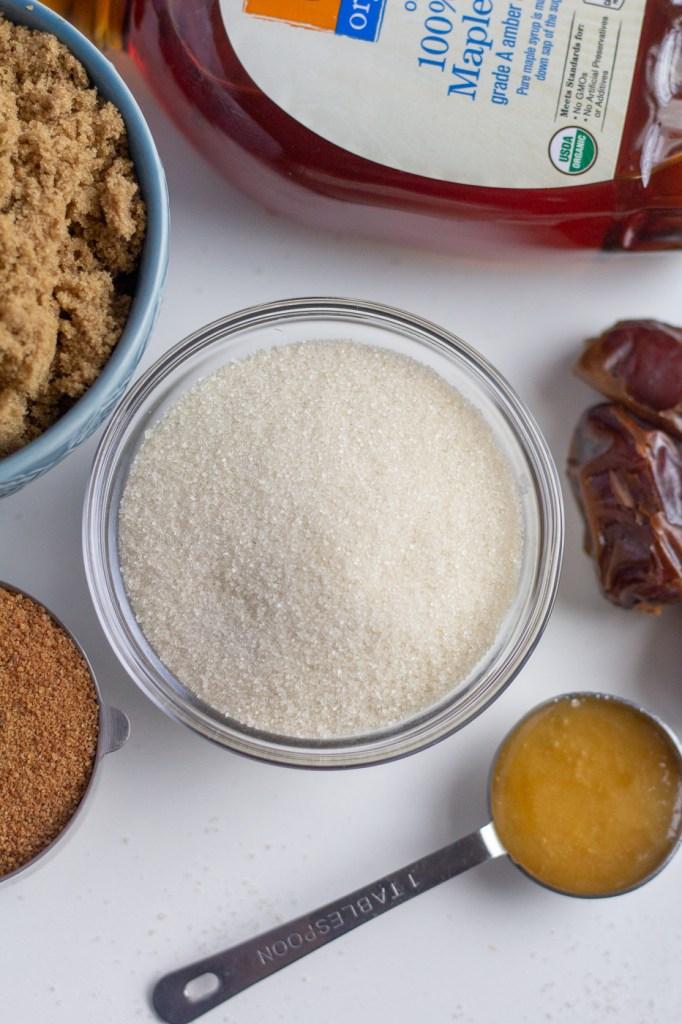 Raw cane sugar, maple syrup, brown sugar, dates, and honey