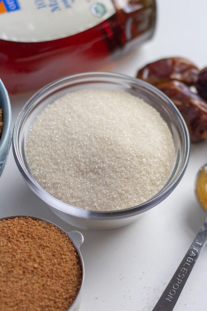 Bowl of raw cane sugar