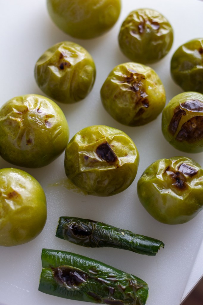 Broiled tomatillos and jalapeno