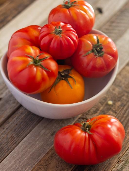 Bowl of heirloom tomatoes