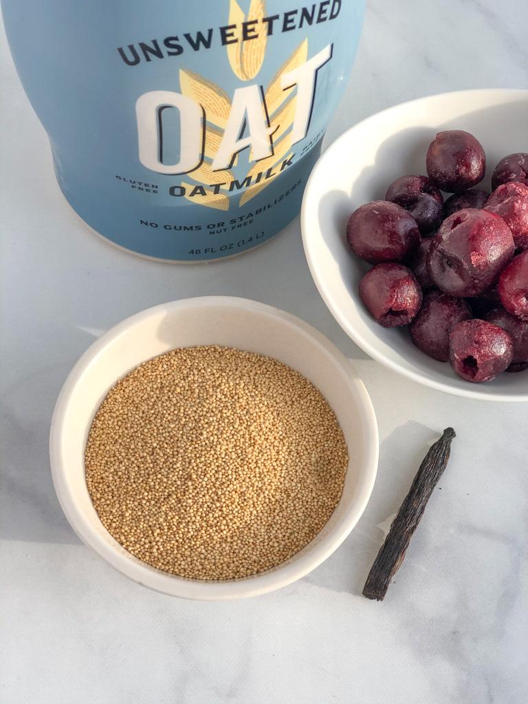 Amaranth, oat milk, sweet cherries, and vanilla bean