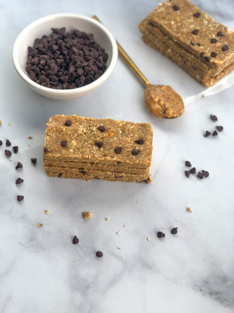 Stacked peanut butter cookie dough protein bars