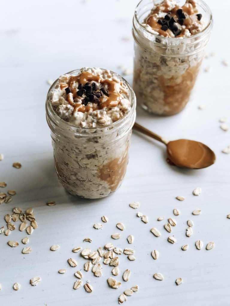 Jar of healthy peanut butter overnight oats