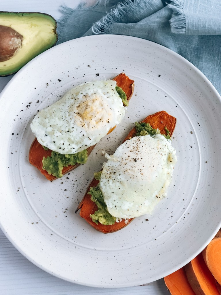 sweet potato toast recipe with avocado and fried egg