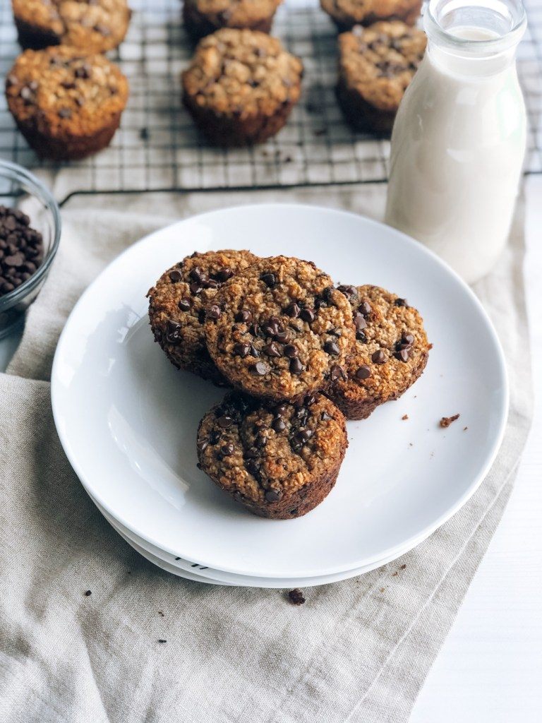 Plate of healthy banana chocolate chip muffins