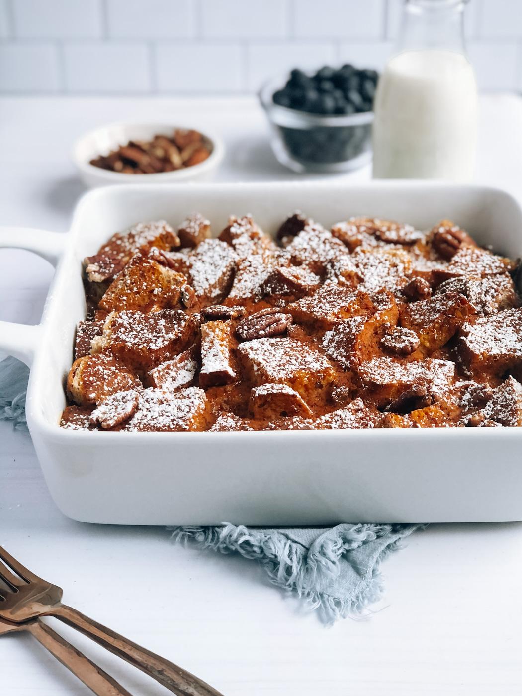 Pumpkin Vegan French Toast Casserole