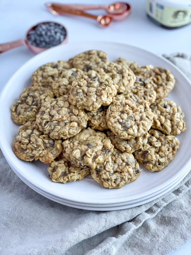 Plate of vegan oatmeal chocolate chip cookies