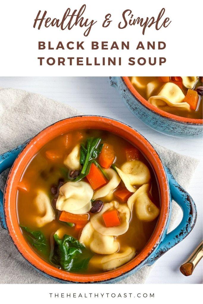 black bean and tortellini soup pinterest image